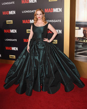 Christina Hendricks got majorly glammed up a la Scarlett O'Hara in a dark green Zac Posen ball gown for the Black & Red Ball.