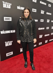 Alanna Masterson added more edge with a pair of metal-embellished ankle boots.