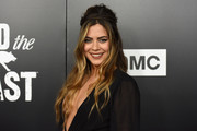 Lorenza Izzo looked like a goddess with her teased half-up hairstyle at the premiere of 'Feed the Beast.'