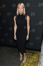 Tracy Anderson chose a column-style black dress with cutout detailing for her evening look.