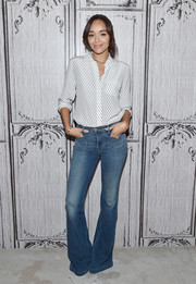 Ashley Madekwe went for some '70s 'flare' with these jeans at the AOL Build Speaker Series.