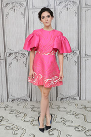 Isabelle Fuhrman WOWED in a fuchsia ruffle-sleeve cocktail dress by Christian Siriano at the AOL Build Speaker Series.