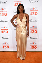Patina Miller made an ultra-sophisticated choice with this champagne-hued wrap-style gown for the Bergh Ball.