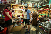 Janko Tipsarevic trekked around the streets of Chinatown wearing stylish blue and black Fila tennis shoes.