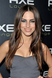 Jessica Lowndes wore long straight locks at the AXE Lounge Super Bowl.