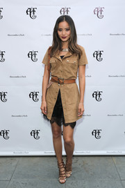 Jamie Chung showed her mix-and-matching talents with this tan shirtdress and black slip combo at the Abercrombie & Fitch Summer Rooftop Party.