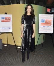 Emmy Rossum shimmered in a metallic velvet midi dress by Rebecca Taylor at the New York screening of 'About Elly.'