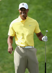 Tiger Woods sported this pale-yellow polo while on the green.