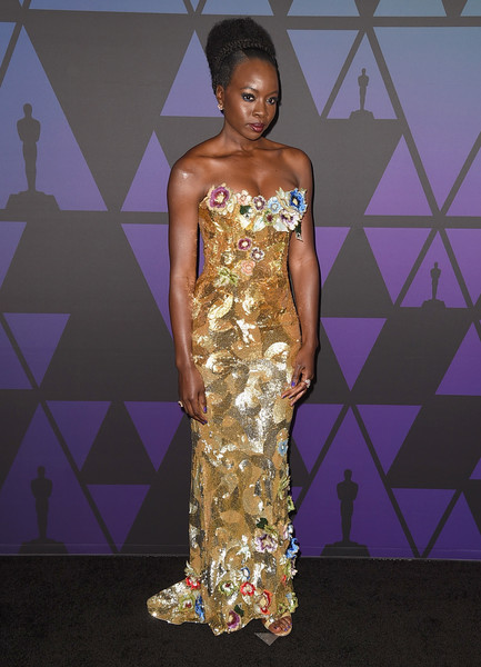Danai Gurira was a standout in a lavishly embellished strapless gold gown by Vivienne Westwood Couture at the 2018 Governors Awards.