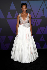 Regina King looked resplendent in a white Jenny Packham gown with a Swarovski crystal-embellished bodice at the 2018 Governors Awards.