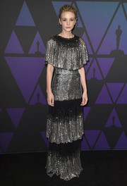 Carey Mulligan sparkled so elegantly in a tiered, micro-beaded gown by Dolce & Gabbana at the 2018 Governors Awards.