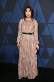 Awkwafina glammed up in a beaded blush gown by J. Mendel for the 2019 Governors Awards.