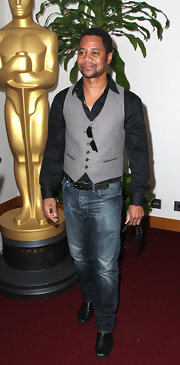 This gray vest was the center piece of Cuba Gooding Jr.'s look.