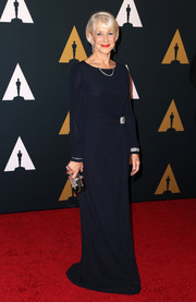 Helen Mirren kept it understated in a long-sleeve midnight-blue gown at the Governors Awards.