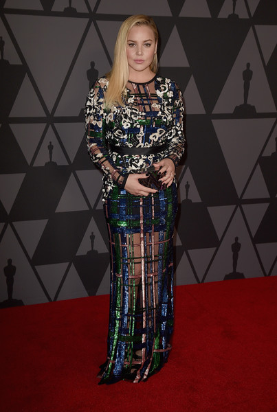 Abbie Cornish rocked a partially sheer plaid and floral sequin gown by Elie Saab at the Governors Awards.