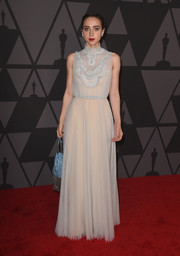 Zoe Kazan looked charming in a floaty Prada gown, in ice blue with a nude underlay, at the Governors Awards.