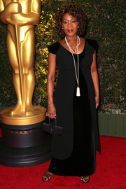 Alfre Woodard sported a goth-meets-princess look with this black Armani evening dress during the Governors Awards.