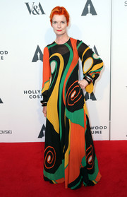 Sandy Powell brought a psychedelic vibe to the Hollywood Costume Opening Party with this colorful swirl-print maxi dress.