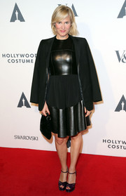 Judith Godreche attended the Hollywood Costume Opening Party looking super edgy in a leather LBD.