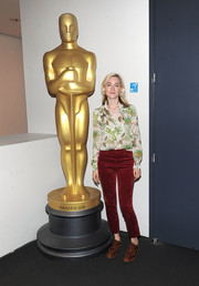 For her footwear, Saoirse Ronan went funky with a pair of studded wingtips.