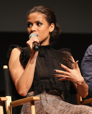 Gugu Mbatha-Raw sported black nail polish at the official Academy screening of 'Concussion.'