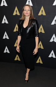 Jodie Foster went for subdued sophistication in a cropped black leather jacket layered over an LBD at the 'Silence of the Lambs' 25th anniversary event.