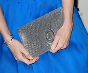 Elizabeth McGovern complemented her blue dress with a dazzling metallic silver envelope clutch.