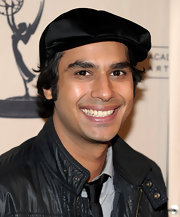 Kunal showed off a suede dress hat while attending 'The Big Bang Theory'.