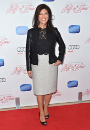 Julie Chen blended feminine and edgy with this black leather jacket with lace overlay and trim