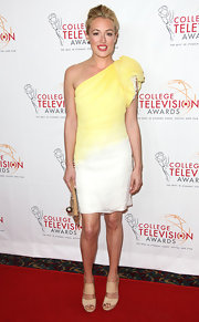 Cat Deeley arrived at the College Television Awards wearing a pair of warm beige wedges.