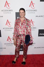 Garance Dore glammed up her pajamas with black fur sandals.