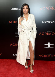 Taraji P. Henson gave us boudoir vibes with this white robe coat by Roberto Cavalli at the New York premiere of 'Acrimony.'