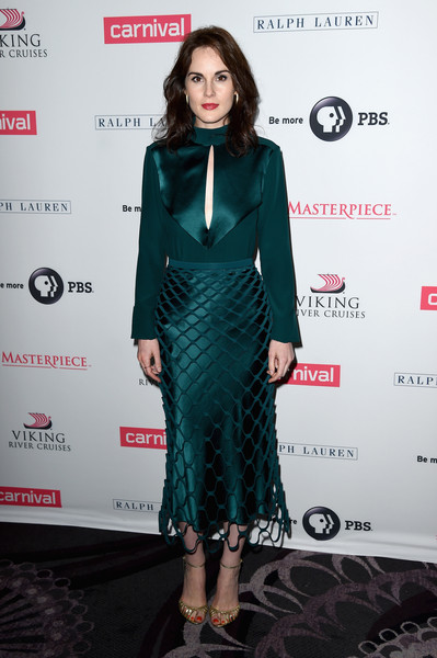 Michelle Dockery kept it elegant all the way down to her gold evening sandals.