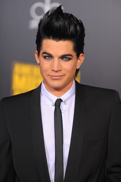 Adam Lambert Diamond Studs [hair,suit,forehead,hairstyle,eyebrow,formal wear,chin,white-collar worker,tuxedo,black hair,arrivals,adam lambert,american music awards,nokia theatre l.a. live,los angeles,california]