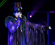 Adam wears a Halloween inspired top hat for his performance in Los Angeles.