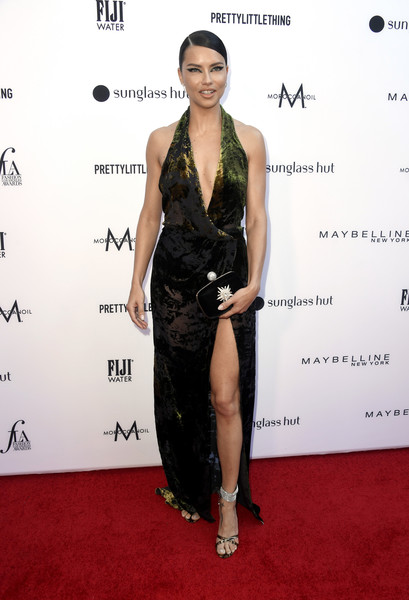 Adriana Lima Beaded Clutch [red carpet,clothing,dress,shoulder,carpet,cocktail dress,fashion model,fashion,little black dress,joint,arrivals,adriana lima,beverly hills hotel,california,daily front row,5th annual fashion los angeles awards]