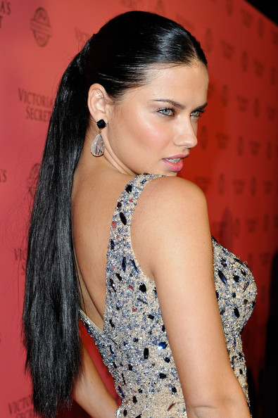 Adriana Lima Dangling Gemstone Earrings [hair,hairstyle,eyebrow,long hair,black hair,beauty,lady,chin,lip,forehead,a pink carpet,host,adriana lima,vs angels,swim collection,los angeles,california,victorias secret,club l,event]