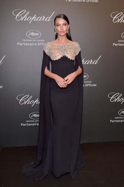 Adriana Lima Beaded Dress [gown,formal wear,fashion model,dress,beauty,flooring,shoulder,lady,fashion,model,caroline scheufele,adriana lima,rihanna,chopard space party - photocall,cannes,france,port canto,chopard space party,chopard,cannes film festival]