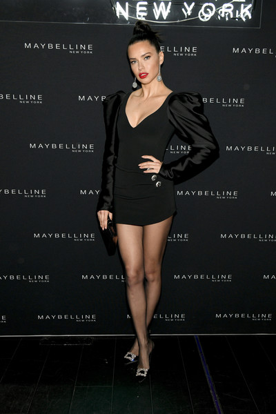 Adriana Lima Little Black Dress [clothing,dress,fashion model,cocktail dress,little black dress,fashion,shoulder,leg,joint,footwear,adriana lima,new york city,maybelline new york fashion week,party]