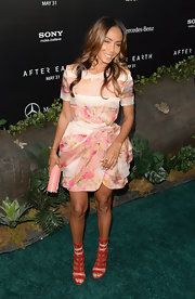 Jada's look was full of color thanks to this pink floral frock that featured an elegant petal skirt.