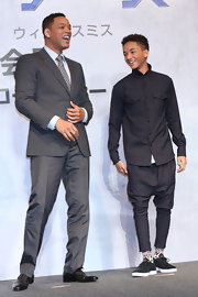 Jaden Smith looked cool and modern in a sleek button down and harem pants.