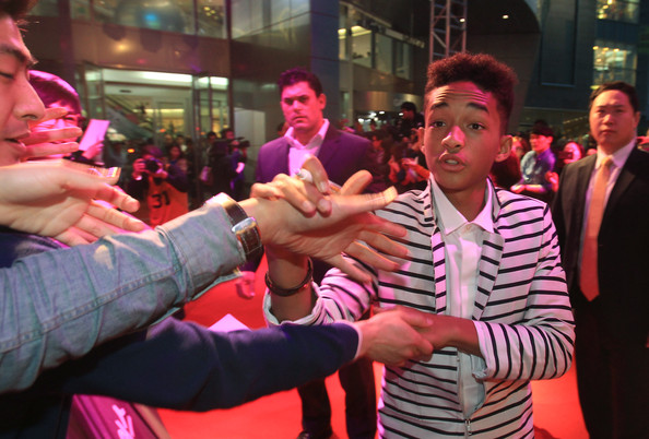 More Pics of Jaden Smith Blazer (1 of 21) - Jaden Smith Lookbook - StyleBistro [film,people,pink,event,magenta,performance,crowd,fun,party,muscle,finger,jaden smith,will smith,south korea premiere time square,earth,south korea,seoul,south korea premiere]