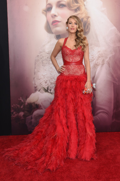 In Monique Lhuillier At 'The Age Of Adaline' Premiere