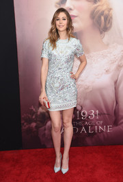 Amanda Crew was all aglow in a beaded silver mini dress during the 'Age of Adaline' New York premiere.