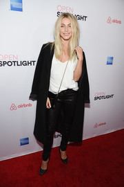 Julianne Hough went for an edgy cold-weather look with this black wool coat and leather pants combo at the Airbnb Open Spotlight event.