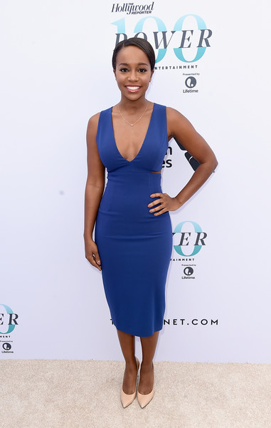 Aja Naomi King Cutout Dress [the hollywood reporter,clothing,dress,cocktail dress,blue,cobalt blue,turquoise,fashion,fashion model,electric blue,carpet,annual women in entertainment breakfast,actress,aja naomi king,los angeles,hollywood,california,hollywood reporter,milk studios]
