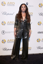 Demi Lovato went all out with the shimmer in a fully sequined pantsuit by Alice + Olivia at the ARD Foundation's A Brazilian Night benefit.