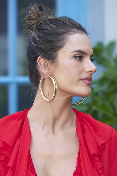 Alessandra Ambrosio Gold Hoops [hair,hairstyle,chin,ear,beauty,lip,bun,fashion,chignon,neck,alessandra ambrosio,xti,collection,madrid,spain,santo mauro hotel,alessandra ambrosio presents xti new collection]