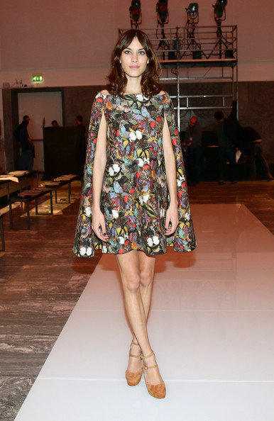 Alexa Chung Off-the-Shoulder Dress [fashion model,fashion show,fashion,runway,clothing,shoulder,fashion design,dress,footwear,hairstyle,international woolmark prize,milan fashion week womenswear autumn,part,milan,italy,alexa chung]