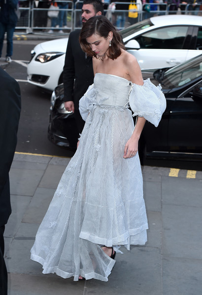 Alexa Chung Off-the-Shoulder Dress [duchess of cambridge attends the portrait gala,gown,shoulder,fashion model,fashion,flooring,joint,girl,dress,haute couture,outerwear,alexa chung,london,england,national portrait gallery,portrait gala]